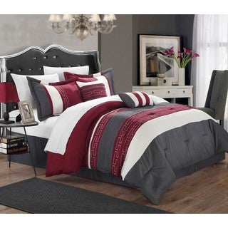 Chic Home Rosswell Burgundy Embroidered Striped 10 Piece Comforter Bed in a Bag