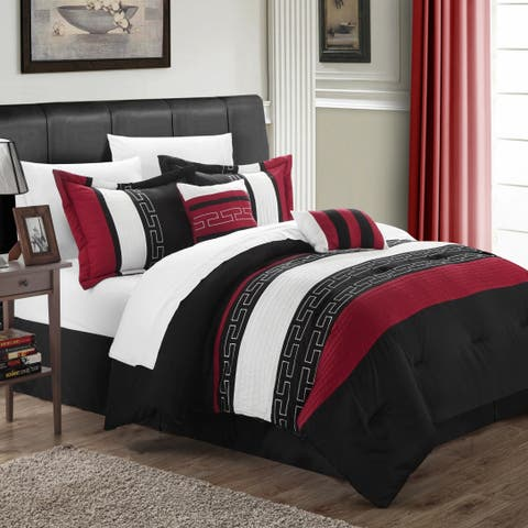 Chic Home Rosswell Black and Red Embroidered Striped 10 Piece Comforter Bed in a Bag