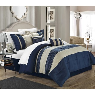 Chic Home Rosswell Navy Embroidered Striped 10 Piece Comforter Bed in a Bag