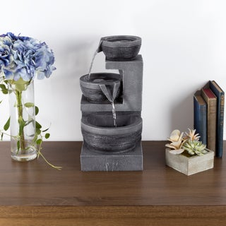 Tabletop Water Fountain With LED Lights - Three Tier Cascading Basin Table Fountain by Pure Garden
