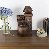 Tabletop Water Fountain With Rustic Jugs and LED Lights - Tiered Vase Table Fountain by Pure Garden