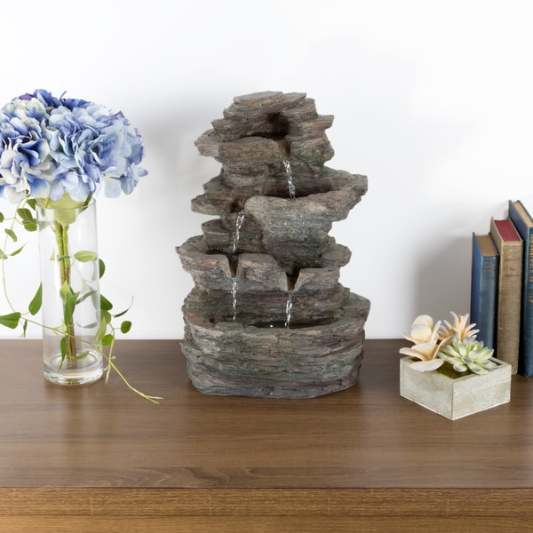 Bon Tabletop Water Fountain With Cascading Rock Waterfall And LED Lights    Tiered Stone Table Fountain By