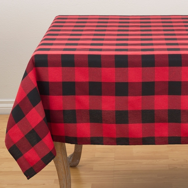Black And Red Buffalo Plaid Design Cotton Blend Tablecloth