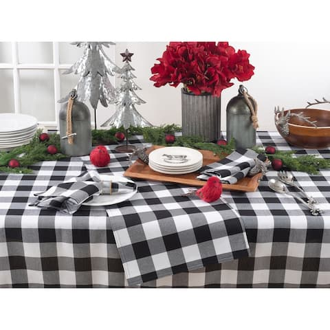 Buffalo Plaid Design Cotton Blend Tablecloth