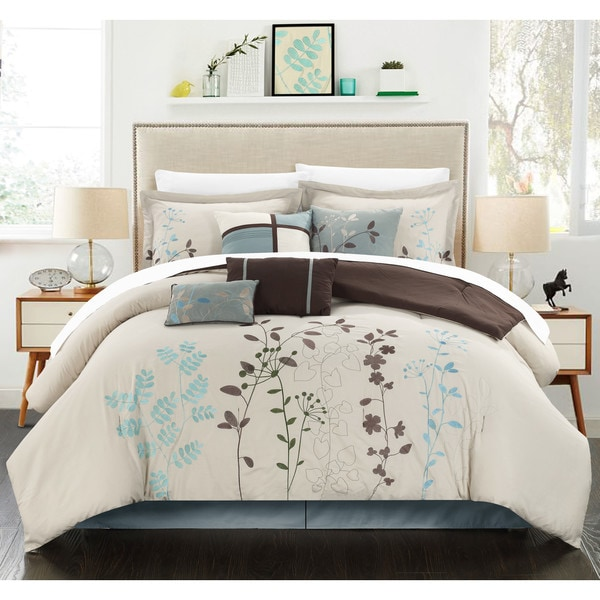 Chic Home Nits Beige Embroidered Floral 12 Piece Comforter Bed in a Bag