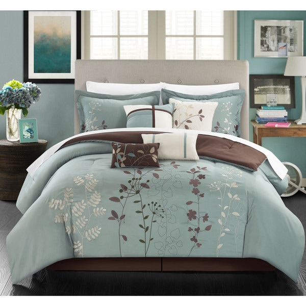 Shop Chic Home Nits Sage Embroidered Floral 12 Piece