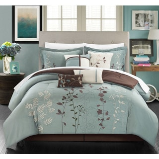 Chic Home Nits Sage Embroidered Floral 12 Piece Comforter Bed in a Bag