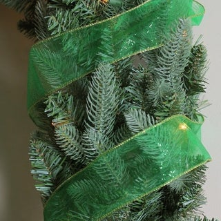 Green Solid Wired Christmas Craft Ribbon