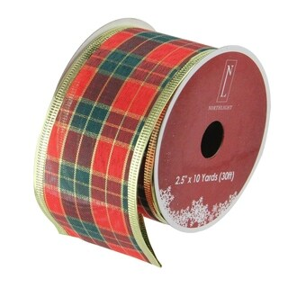 Green & Red Stripe Wired Christmas Craft Ribbon
