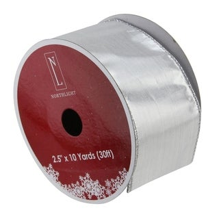 Solid Silver Wired Christmas Craft Ribbon