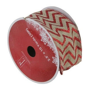 Red & White Chevron Wired Christmas Craft Ribbon