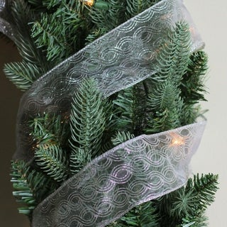 Metallic Silver Swirl Wired Christmas Craft Ribbon