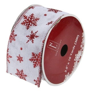 Snowflakes Burlap Wired Christmas Craft Ribbon