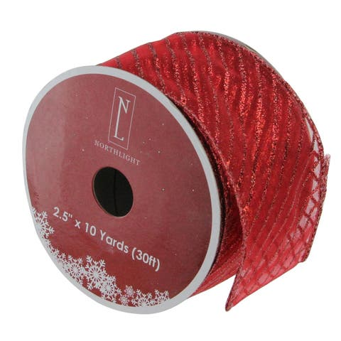 "Red Wired Christmas Craft Ribbon 2.5"" x 120 Yards"