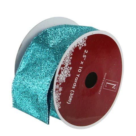 Shimmering Teal Solid Wired Christmas Craft Ribbon