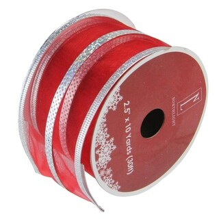 Red & Silver Stripe Wired Christmas Craft Ribbon