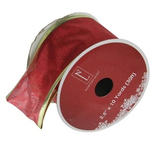 Textured Red & Gold Wired Christmas Craft Ribbon