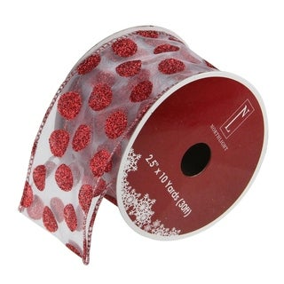 Silver&Red Polka Dots Wired Christmas Craft Ribbon