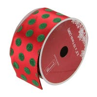 Red & Green Polka Dot Wired Christmas Craft Ribbon