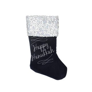 "19"" ""Happy Hanukkah"" Cuffed Embroidered Stocking"