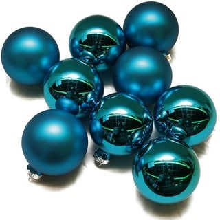 9-Piece Blue Glass Ball Christmas Ornament Set