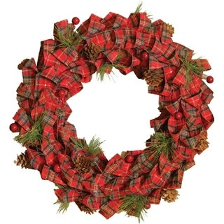 Red Bows & Pine Cones Artificial Christmas Wreath