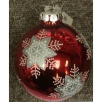Snowflake Pattern on a Red Glass Ornament Set