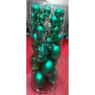 40-Piece Green Glass Ball Christmas Ornament Set