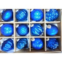 Blue Assorted Distressed Finish Glass Ornament Set