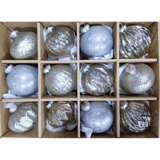 Silver Distressed Finish Glass Ornament Set