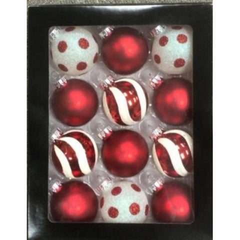 12ct Red & White Glass Ball Christmas Ornament Set