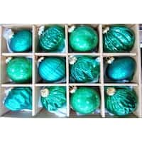 Green Distressed Finish Glass Ornament Set