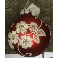 White Floral Pattern on a Red Glass Ornament Set