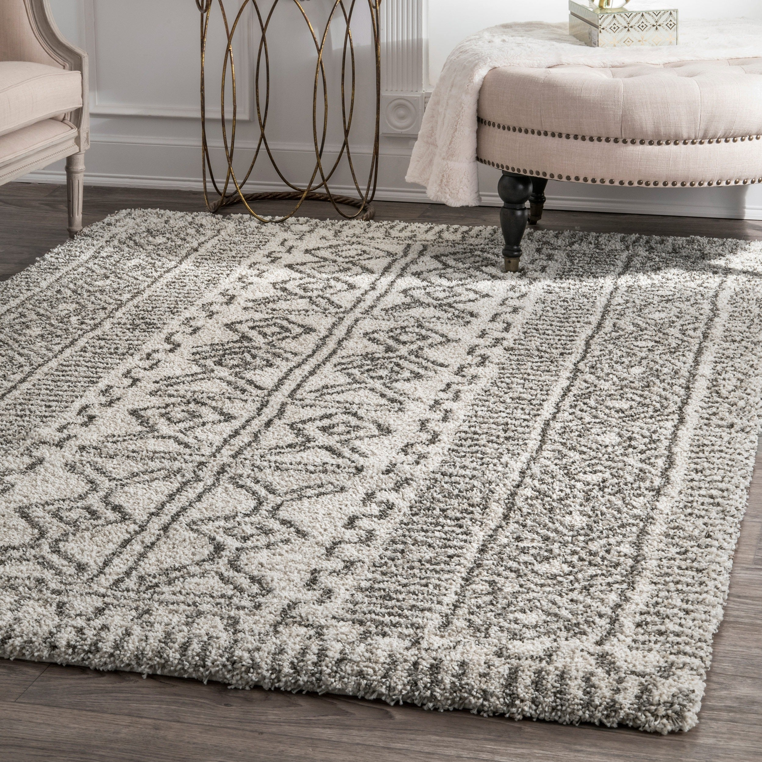 Nuloom Moroccan Inspired Luxuries Soft And Plush Abstract Tribal Ivory Rug