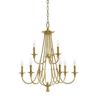 Aztec Lighting Traditional 9-light Natural Brass Chandelier