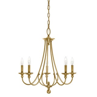 Aztec Lighting Traditional 5-light Natural Brass Chandelier
