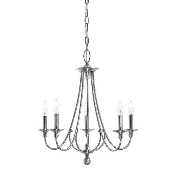 Aztec Lighting Traditional 5-light Brushed Nickel Chandelier
