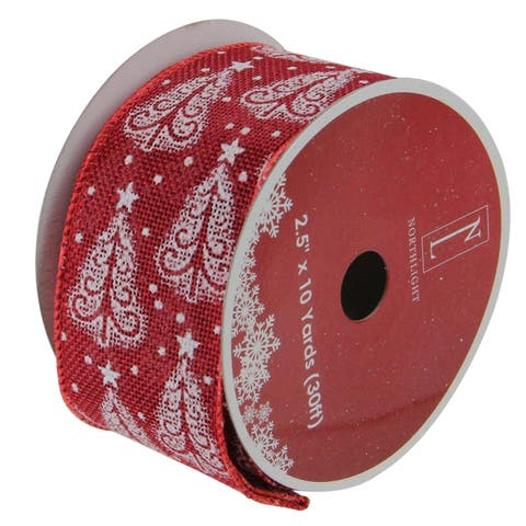 Red & White Trees Wired Christmas Craft Ribbon