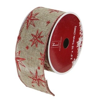 Star & Beige Burlap Wired Christmas Craft Ribbon