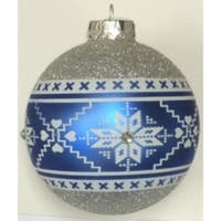 4-Piece Silver Nordic Pattern Glass Ornament Set