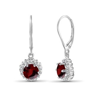 JewelonFire 1.60 Carat Genuine Garnet and Accent White Diamonds Dangle Earring in Sterling Silver