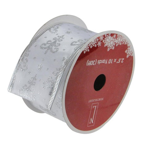 White & Silver Trees Wired Christmas Craft Ribbon