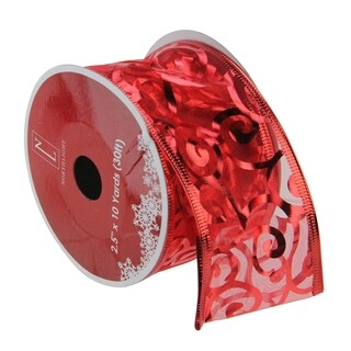 Swirls of Red Wired Christmas Craft Ribbon