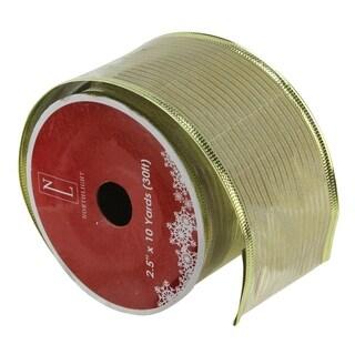 Gold Horizontal Wired Christmas Craft Ribbon
