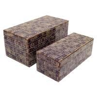 Three Hands Set Of Two Glass Boxes - l13.75x6.75x6 * m 12x5x4 *
