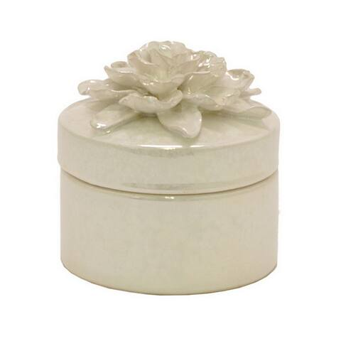 Three Hands White Decorative Covered Floral Jar With Glossy Finish