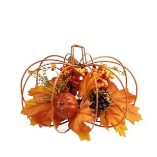 Harvest Maple Leaf & Berry Pumpkin Decoration