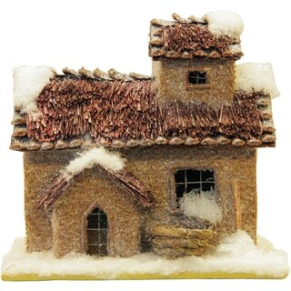 Rustic Two Story Snowy Cabin Christmas Decoration