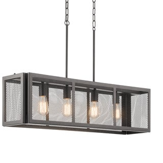 Aztec Lighting Transitional 4-light Painted Bronze Linear Chandelier