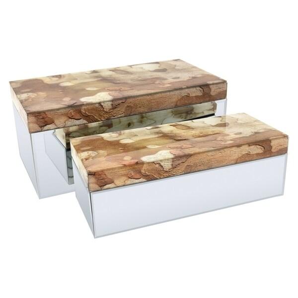 Three Hands Set Of Two Glass Boxes- Bark Pattern - l13.75x6.75x6 * m 12x5x4 *